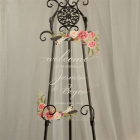 Exquisite Wedding Sign-Acrylic Welcome Sign Pink Floral Greenery with Feather EWSG008