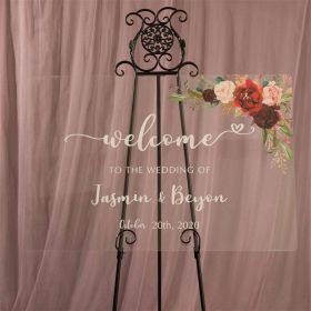 Designed Wedding Sign-Acrylic Welcome Sign Burgundy and Pink Floral EWSG010
