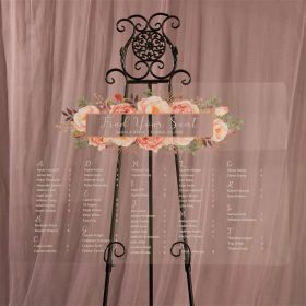 Personalized Acrylic Wedding Seating Chart Rustic Modern Pink Floral EWSG021