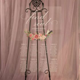 Personalized Acrylic Wedding Seating Chart Pink Blush Floral with Feather EWSG024