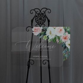 Elegant Wedding Sign-Acrylic Welcome Sign Stunning Pink Words Ivory floral Decor EWSG033