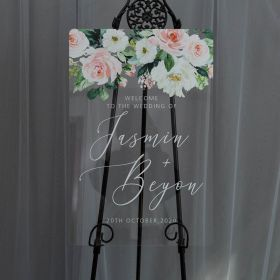 Elegant Wedding Sign-Acrylic Welcome Sign Stunning White floral Decor EWSG034