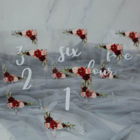 Wedding Table Numbers-Acrylic Table Numbers Burgundy and Blush Floral EWSGT001-1