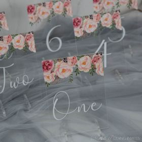 Wedding Table Numbers-Acrylic Table Numbers Rustic Modern Pink Spring Flower EWSGT002