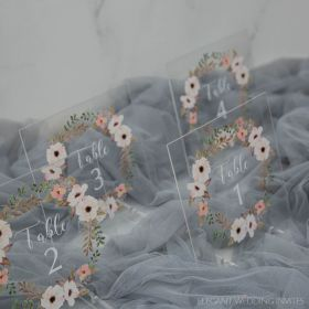 Wedding Table Numbers-Acrylic Table Numbers Stunning White floral Wreath EWSGT004