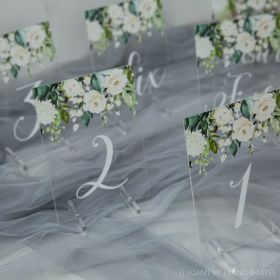Wedding Table Numbers-Acrylic Table Numbers Stunning White floral Decor EWSGT006