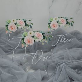 Wedding Table Numbers-Acrylic Table Numbers Elegant Ivory and White Flowers Greenery EWSGT009