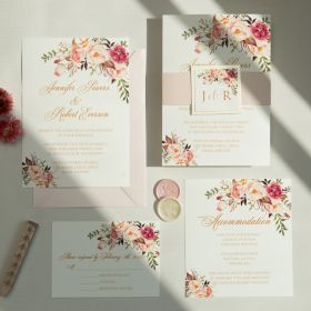 exquisite blush floral wedding invite with mirror paper backer EWI465