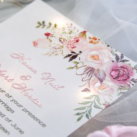 exquisite pink floral uv printing wedding invitations on Vellum paper EWUV025