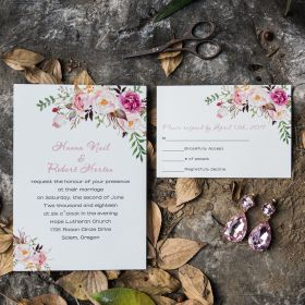 exquisite spring pink floral UV printing wedding invitations EWUV001