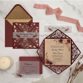 fall rustic burgundy laser cut wrap with floral wedding invitations EWWS285-1