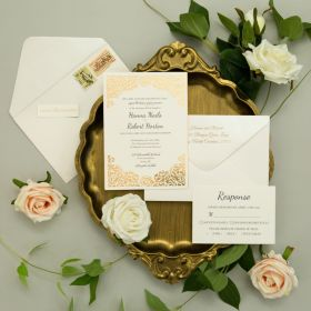flat laser cut wedding invitation with reflective mirror gold backing card EFWS033-1