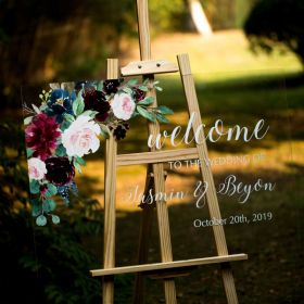 Floral Wedding Sign-Acrylic Welcome Sign Stunning Ivory and Purple Blue EWSG005-4