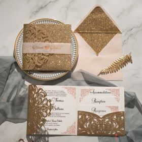 glitter & rose gold laser cut wedding invitation with pocket inserts EWWS277-1