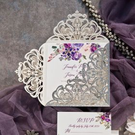Glittery Silver Laser Cut Fold with Purple and Blush Florals on Invitation EWDK013-1