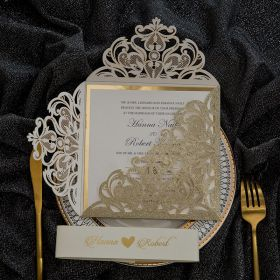 Glittery Champagne Laser Cut Fold with Printed Tab and Gold Mirror Backer EWWS258