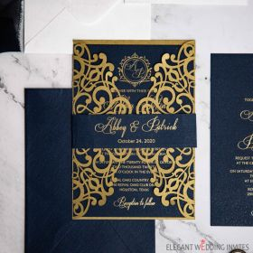 gold and navy that sparkles and shine foiling wedding invitation EWWS272-1
