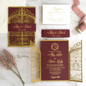 gold gate design laser cut invitation with burgundy and gold monogram wording EWWS298-1