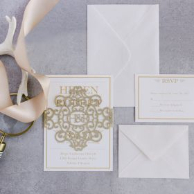 modern gold glitter monogram laser cut belly band wedding invitations EWBLG002