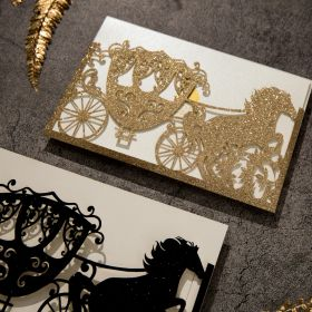for the king and queen gold glittery horse and carriage laser cut sleeve with invitation EWWS262