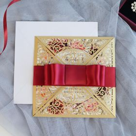 gold shimmer laser cut with satin ribbon burgundy floral wedding invites EWWS236