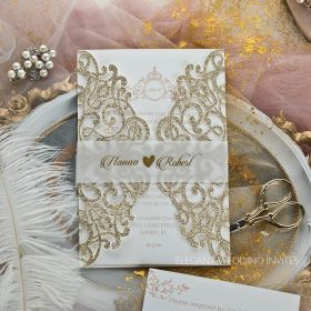 gorgeous lace glitter paper laser cut wedding invitations EWWS261