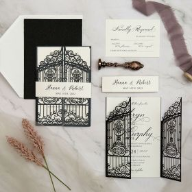 graceful gate design laser cut wedding invitation with fancy calligraphy wording EWWS281-1