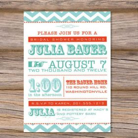 Cheap printable green alphabet wedding bridal shower invitations EWBS020