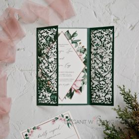 Greenery and botanical leaf pattern wedding invitations EWDM013