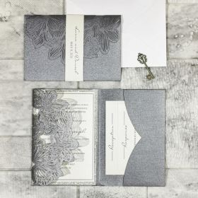 grey shimmer laser cut wedding invitations with champagne gold glitter paper backer and belly band EWWS279-1