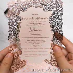 hot stamp foiling elegant flower laser cut wedding invitations EFWS032-1