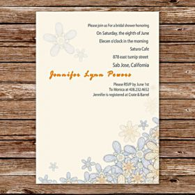 custom sunflower vintage cheap bridal shower invitations online EWBS003