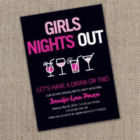 pink and black cocktail themed bachelorette party invitations EWBI013
