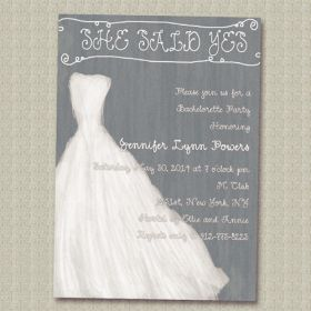 gray and white simple wedding dress invitations for bachelorette party ideas EWBI010