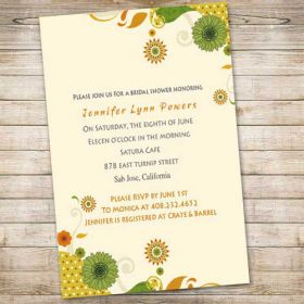 discount yellow sunflower online bridal shower invitations EWBS009