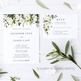 The White Garden-white blooms and greenery wedding invites EWIS006