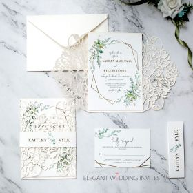 ivory laser cut invitation with greenery pattern around framed wording EWDM015-1