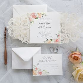 The Vintage Garden-ivory laser cut lace inspired wrap with peach floral invitation EWDK009