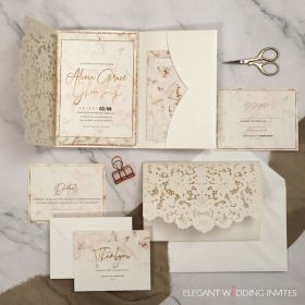 ivory laser cut wedding invitations with marble faced card EWDG001-1