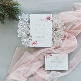 Simple Blossoms-Ivory Laser Cut Wrap with Blush Blossoms on Invitation EWDS008