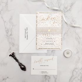 because of you-ivory calligraphy laser cut wedding invites with foil printed vellum belly band EWDM011