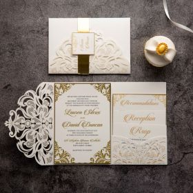 ivory laser cut wedding invitations with mirror gold belly band EWWS275-1