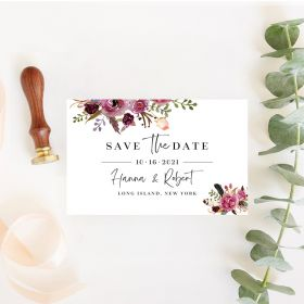 jean's bouquet – pink and purple floral save the date cards EWSTD067