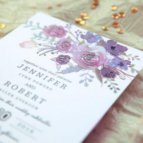 jean's bouquet – pink and purple floral UV printed wedding invitation EWUV019