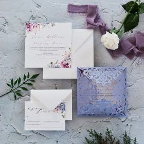 Lavender Laser Cut Fold with Succulent Accents on Invitation EWDA002-1