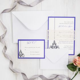 lavender blue invitations with shimmer laser cut belly band EWBL001-1