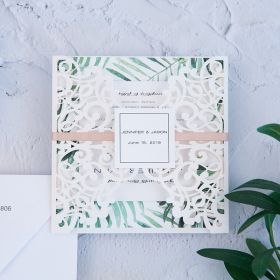 destination romance-ivory white laser cut wrap with ribbon and tab and tropical leaf patterned invitation EWDH006