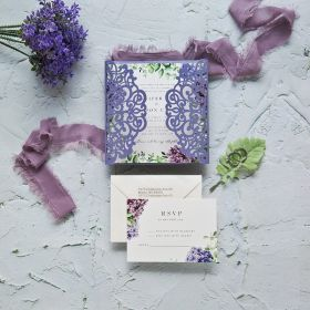 Lilac Laser Cut Wrap with Lilac Bloom Pattern Invitation EWDS010