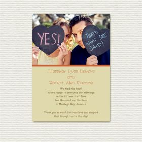 Funny She Said Yes Heart Photo Wedding Announcements EWA009