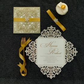 Luxurious gold glittery laser cut wedding invites with pearl buckle and ribbon EWWS152